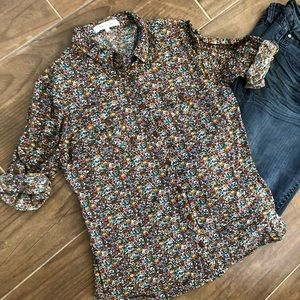 Anthropologie Eden and Olivia Floral sleeve button